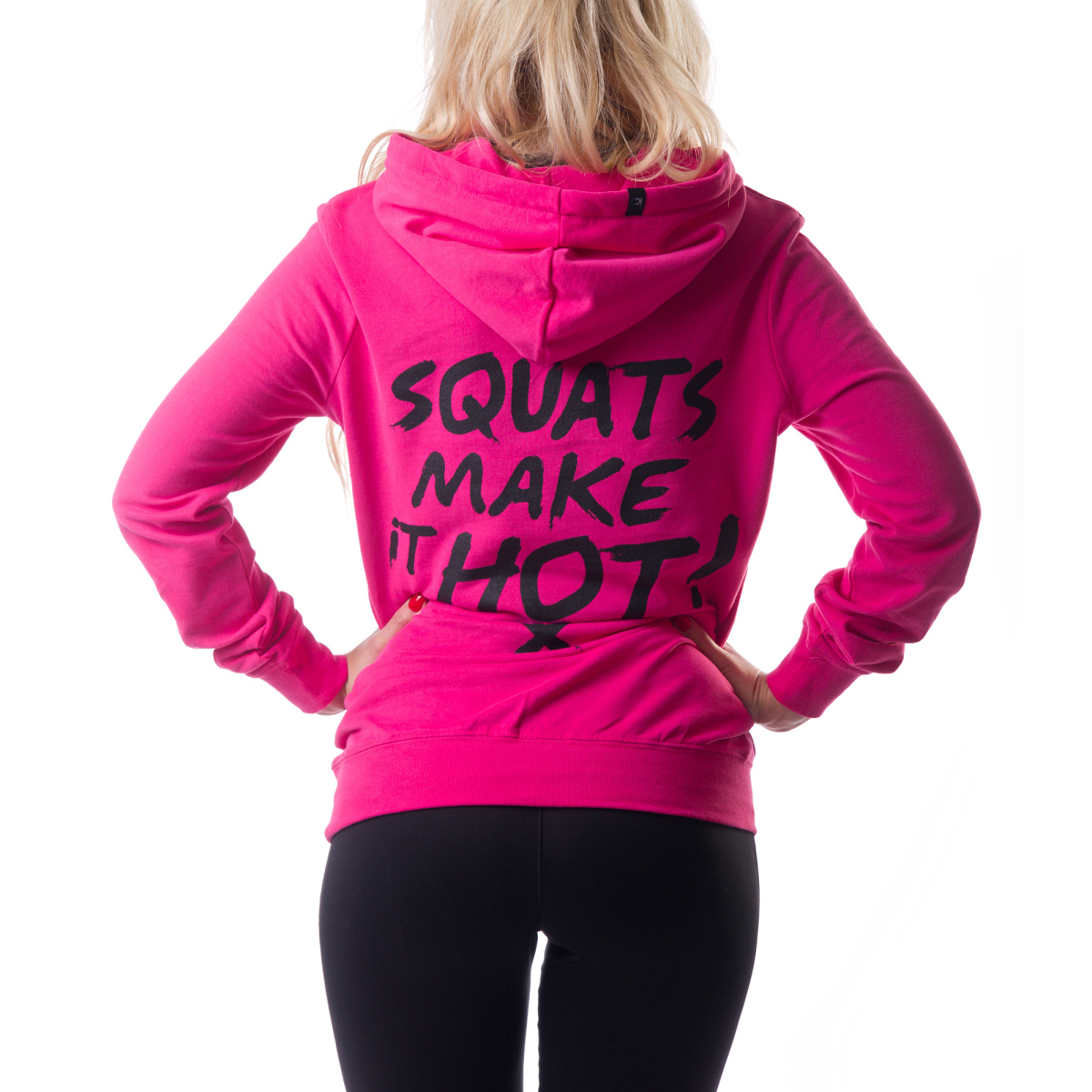 Mikina s kapucí ICONICGYM Squats Make It Hot | růžová, M